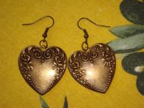Cercei handmade, cu inimioare din alama
