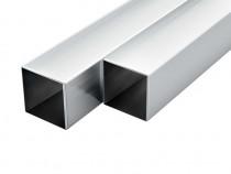 Tuburi din aluminiu, secțiune pătrată, 6 buc 143172