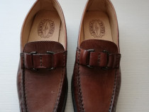 Pantofi noi piele maro cu catarama 37 (25 cm)