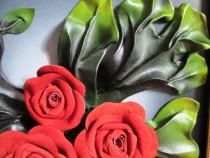 Tablou piele ecologica lucrat manual, in relief, decor flori