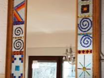 Oglinda, rama lemn mozaicat cu sticla Murano, 800x40x1005 mm