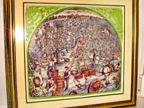 1749- Tablou mare in relief- Culegerea merelor.Grafica color