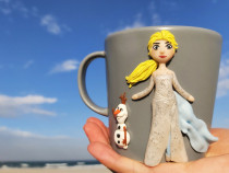 Elsa Frozen 2 cadou martisor cana handmade cu figurina din f