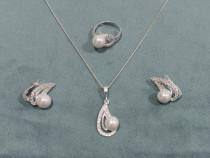 Set argint 925 - lant, pandantiv, cercei si inel - cadou