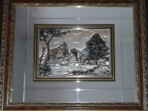 Tablou argint mare in relief cu oglinda (54x64)