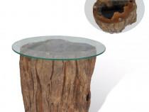 Măsuță de cafea, lemn de tec și sticlă, 245069