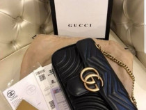 Set Gucci (geanta +curea),logo metalic auriu/Italia