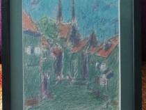 Val Gheorghiu Tablou Peisaj Citadin pictura pastel 26x32cm