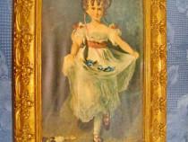 5642- Fetita de epoca in rochita Foto Artistica rama lemn.