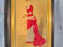 5836-Aplica tablou vechi-Femeie de epoca cu evantai semnata