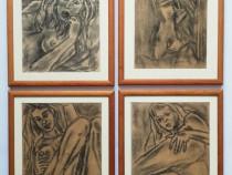 4 tablouri Nuduri anii 70 grafica carbune și creion 27x34cm