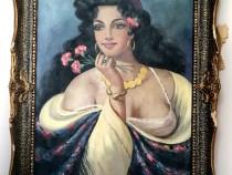 Pictura pe panza, bust de femeie, de Victor Stupariu