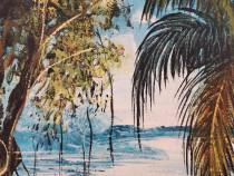 Tablou original vintage tema tropicala semnat inramat