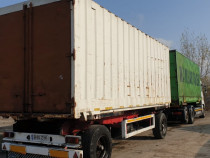 Remorca transport containere KRONE AZW 18 + camion an 2002.