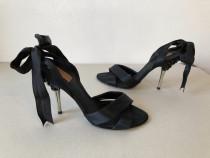 Sandale deosebite Zara, originale, din satin si strasuri neg