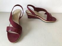 Sandale noi, din piele ecologica si material textil, visinii