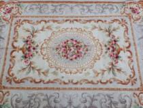 Covor Vintage Antic Vechi Spaniol,lana,lucrat Manual,baroc A