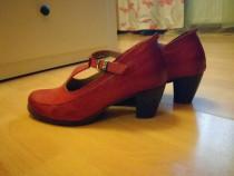 Pantofi rosii din piele, toc 5 cm, Droke