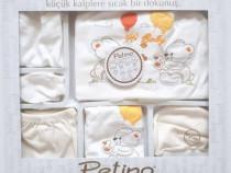 Set cadou nou nascut/bebelus, 10 piese, 0-3 luni, alb/galben