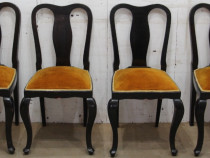 4 buc Scaun vintage Stil Florentin; Scaun lemn masiv tapitat