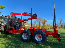 Remorca forestiera de 10 tone cu macara si graifer
