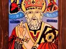 Pictura pe sticla - Sf. Nicolae