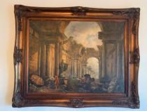 Tablou panza vechi baroc semnat Roma antica rama lemn