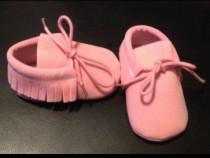 Mocasini roz bebe 0-12 luni