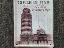 Placuta metalica Turnul din Pisa pentru decor sau colection