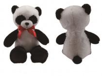 Urs de Plus Panda cu Fundita, Culoare Alb si Negru, 60 cm