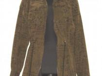 Jacheta vintage, oversize, kaki, cu imprimeu superb