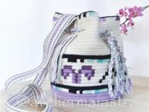 Gentuta mov motive geometrice lavanda handmade crosetata