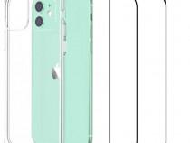 Husa Silicon si Folie Sticla - Iphone 11 12 MINI / PRO / MAX