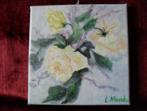 Trandafiri galbeni-pictura ulei pe panza