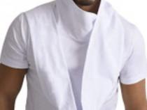 Tricou asimetric alb cu guler șal - Catalin Botezatu - NOU
