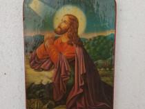 Icoana lemn litografie lacuita - Rugaciunea lui Iisus