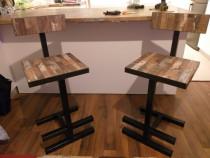 Scaun bar tip industrial din fier si lemn masiv, handmade