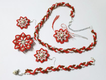 Set handmade, martie, martisor, rosu, alb, primavara florala