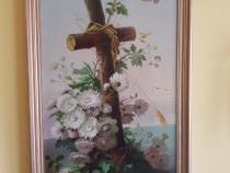 Picturā în ulei veche de aproximativ 100 ani semnată de LA.