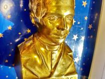 C344-Statuieta bust E.H.E.Poppe metal aurit. Preot belgian.