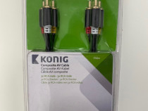 Cablu KONIG audio, video 3x RCA masculin la 3x RCA masculin