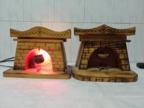 Doua veioze ambientale din lemn hand made si doua casute