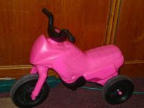 Motocicletă copii cu 3 roți, plastic, roz