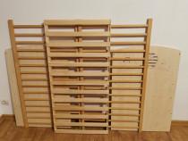 Patut pentru copii, din lemn, cu saltea si protectie incluse