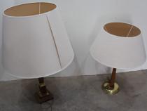 2 buc Veioza vintage cu abajur; Lampadar cu cadru din lemn