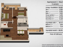 Apartament 3 cam.intabulat 2 bai 2 balcoane etaj 1 Turnisor