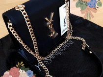 Geanta Yves Saint Laurent mini /Franta logo auriu,saculet