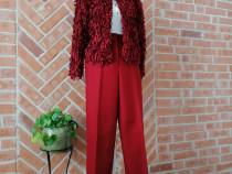 COS - Pantalon din stofa de lana, talie inalta, marime S