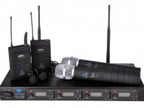 Microfon UHF Azusa PLL-400 4 canale 2 de mana + 2 cu clemă