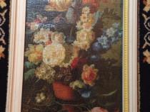 Tablou Antichitati Puzzle Ghiveci cu flori 1